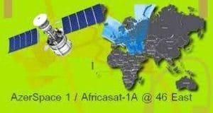 تعريف القمر AzerSpace 1 / Africasat-1A -46° East مع نطاق البث والتغطية
